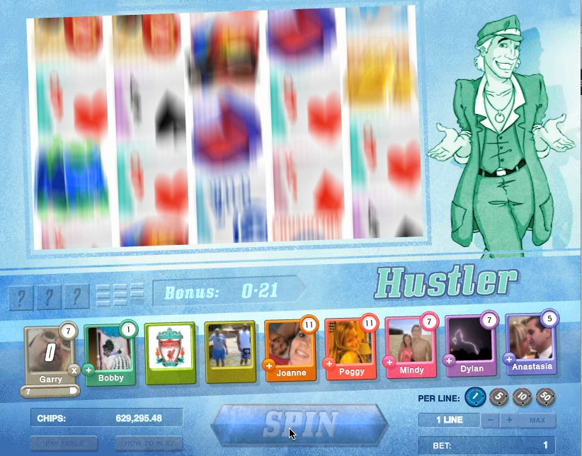 A colourful slots game showing reels and characters and player ranks
